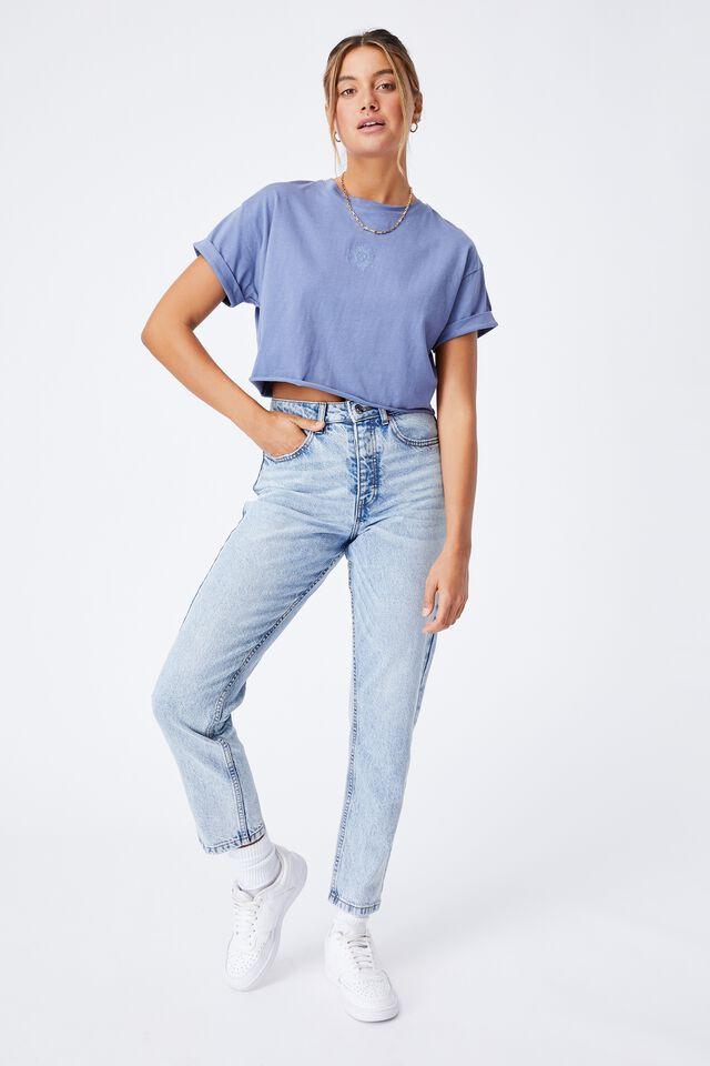 Cosmic Sun Crop T Shirt, WASHED BLUE/COSMIC SUN