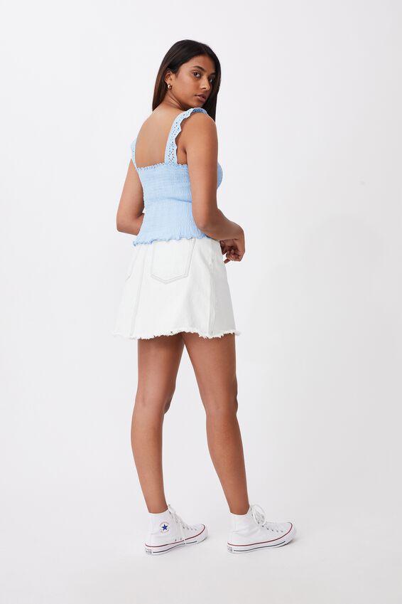 Raegan Shirred Bodice Top, BLUE BELL
