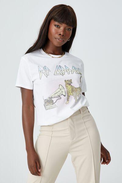 Kylie Printed T Shirt, WHITE/LCN EPI DEF LEPPARD GETCHA