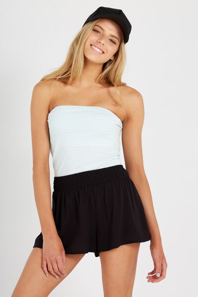 Shirred Summer Short, BLACK