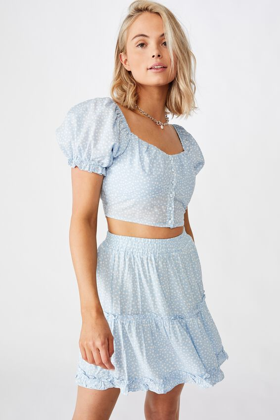 Rhea Puff Sleeve Bustier Top, PEBBLE SPOT BLUE