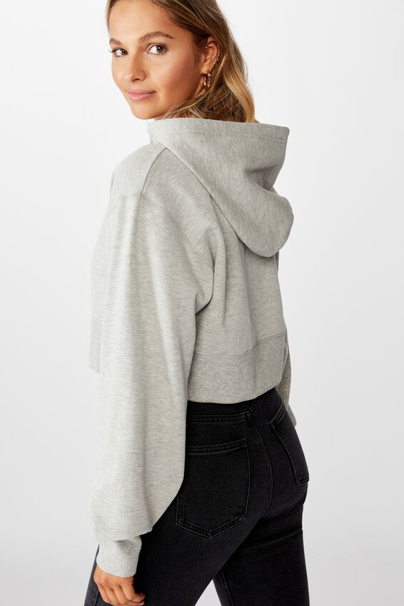 Gracie Hooded Crop Sweat, GREY MARLE