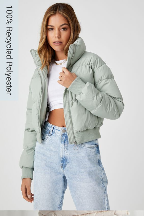 The Cropped Feel-Good Puffer Jacket, SOFT KHAKI
