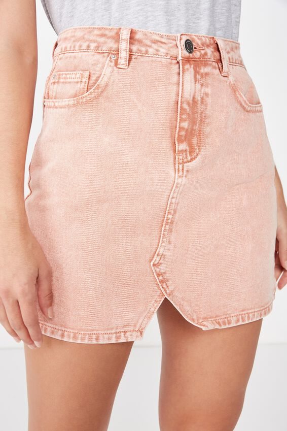 The Blair Aline Denim Skirt, BURNT PEACH ACID