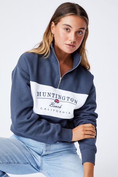 Hayden Quarter Zip Jumper, WASHED NAVY WHITE/HUNTINGTON