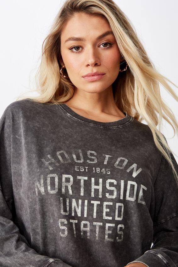 Houston Long Sleeve Tee, WASHED GRANITE GREY/HOUSTON NORTHSIDE COLLEGIATE