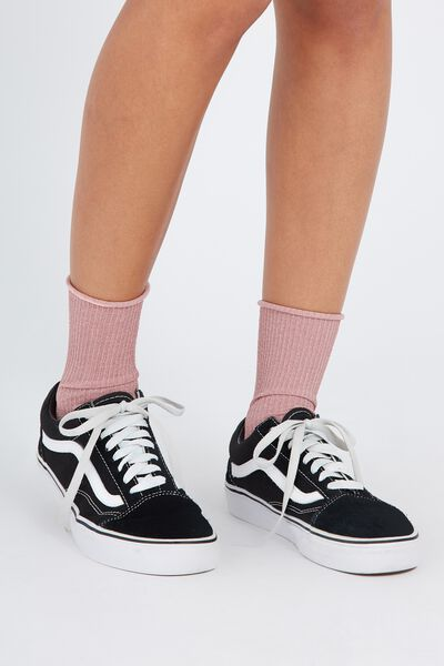 Sparkly Rib Socks, BLUSH