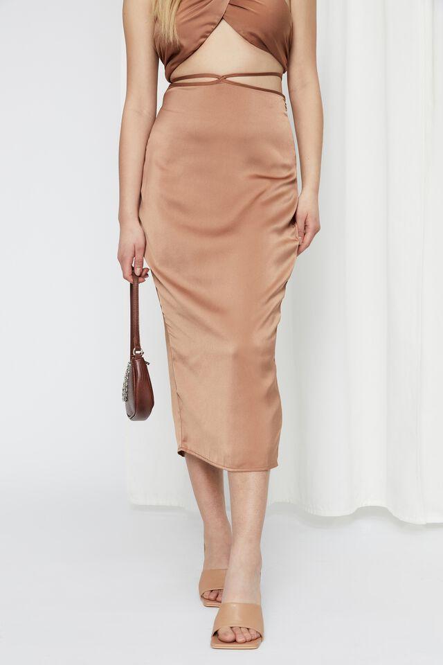 Satin Tie Waist Maxi Skirt, CARAMEL
