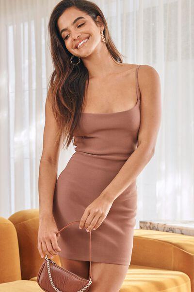 Piper Fitted Mini Dress, CHOC MALT