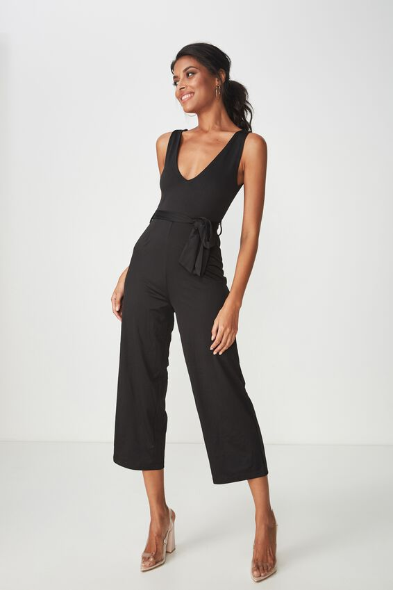 Deep V Neck Jumpsuit, BLACK