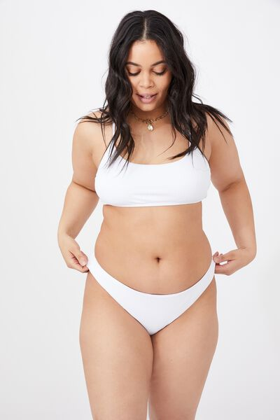 Miami Scoop Crop Bikini Top, WHITE/ WIDE RIB
