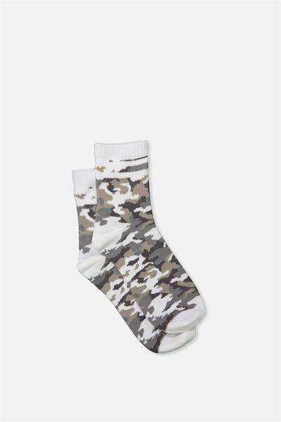 90S Crew Stripe Camo Socks, WHITE MONO CAMO