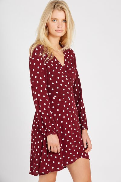 Dolcie Long Sleeve Mini Wrap Dress, BURGUNDY POLKADOT