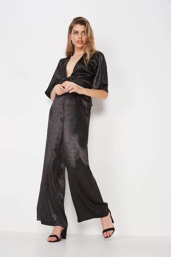 Dressy Satin Wide Leg Pant, BLACK