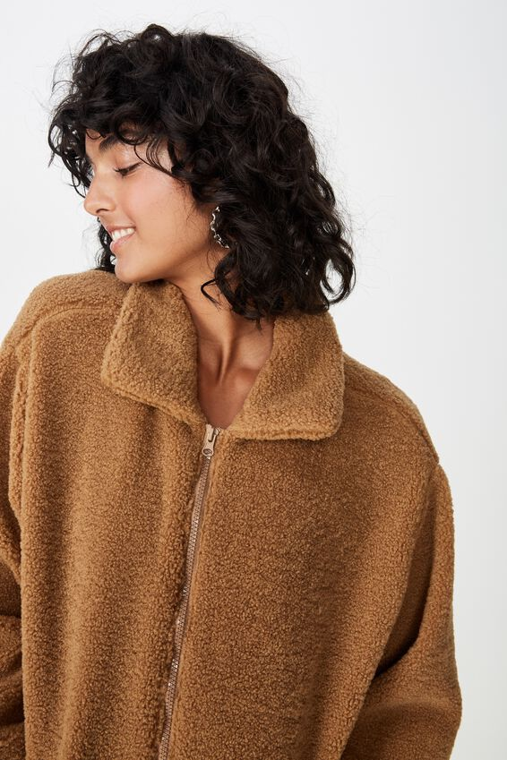 Oversized Faux Sherpa Teddy Jacket, BISCUIT