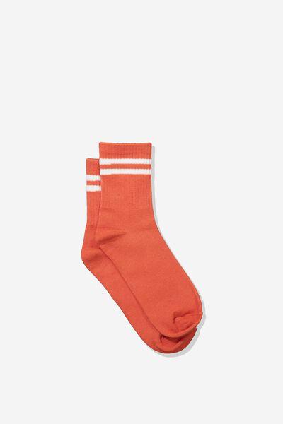 90S Stripe Crew Socks, SPICED ORANGE/WHITE