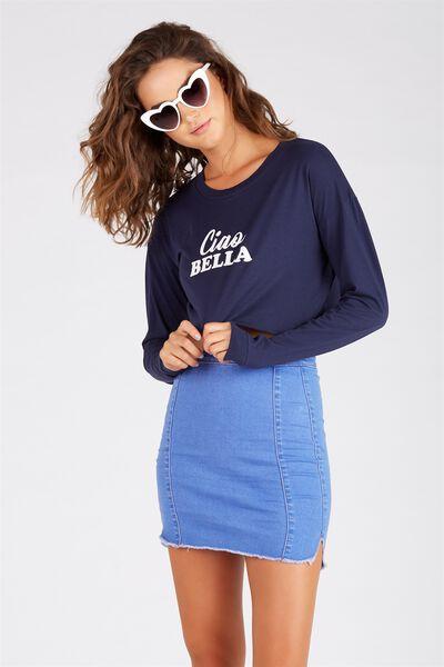 The Fray Edge Panel Denim Skirt, CRYSTAL BLUE