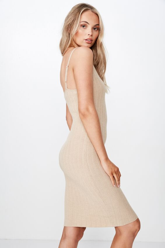 Nessa Thin Strap Midi Dress, COOKIE DOUGH