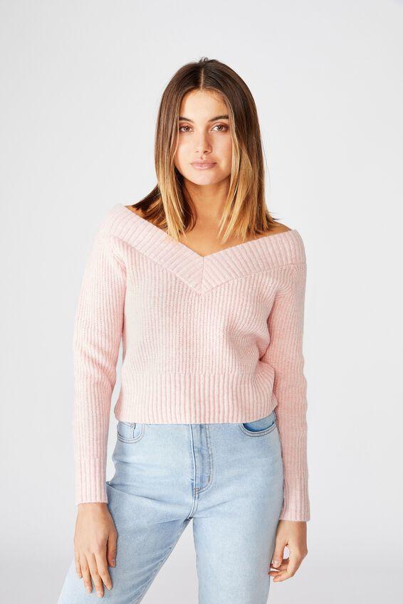 Cassandra V Neck Off Shoulder Knit, FAIRYTALE PINK