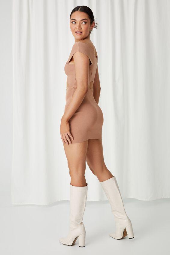 Stella Bodycon Mini Dress, CARAMEL