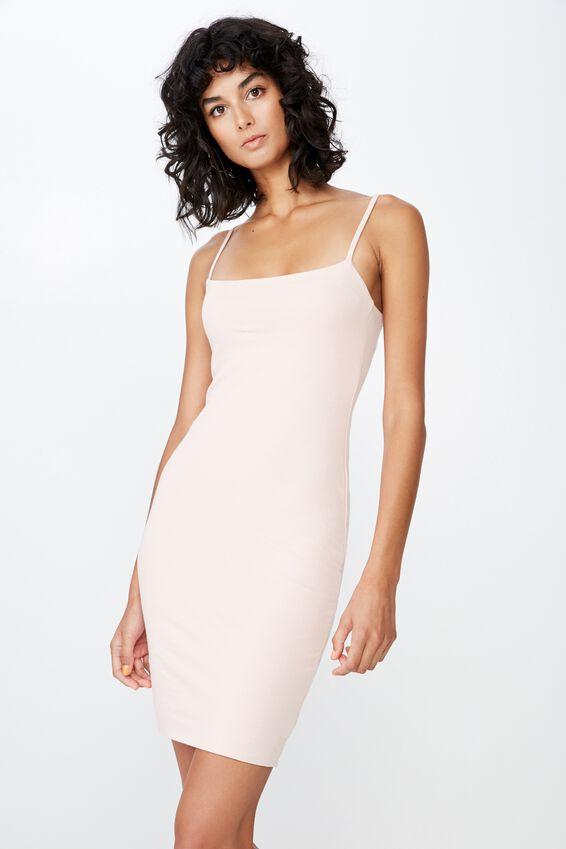 Square Neck Mini Dress, DIVINE PINK