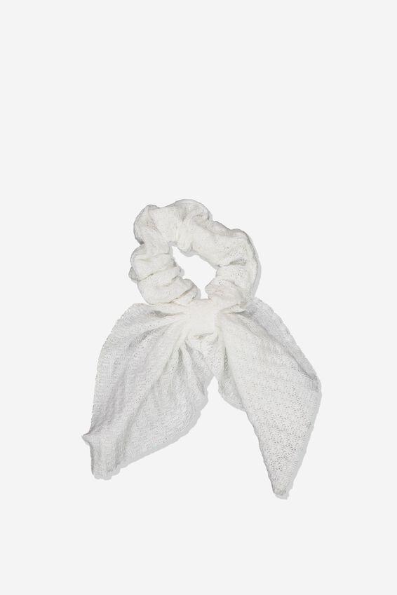Scarf Scrunchie, WHITE TEXTURE