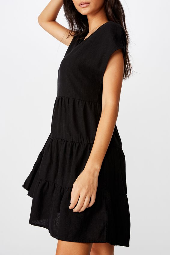 Peggie Tiered Dress, BLACK