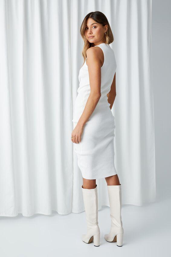 Ruched Midi Dress, WINTER WHITE