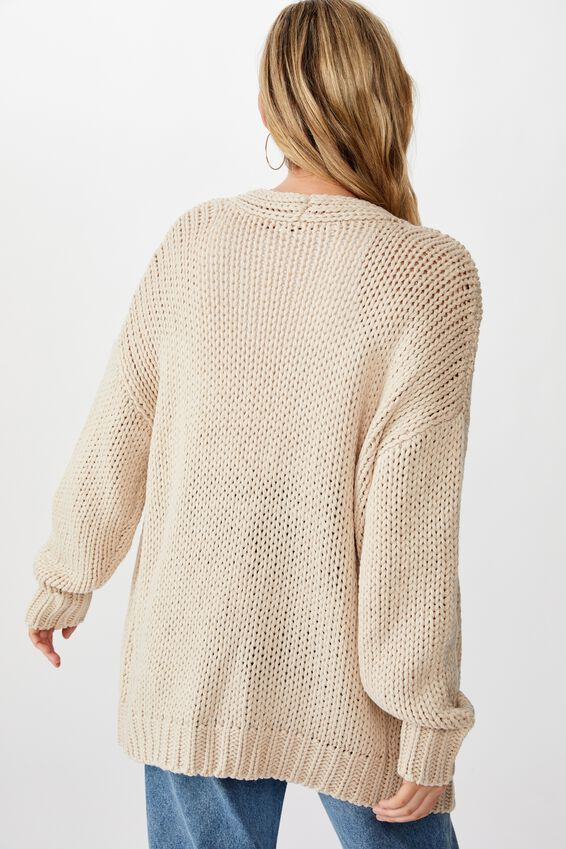 Oversized Greta Cardigan, NATURAL