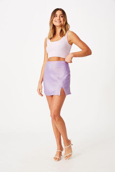 Lizzie Split Mini Skirt, ALICE FLORAL PURPLE