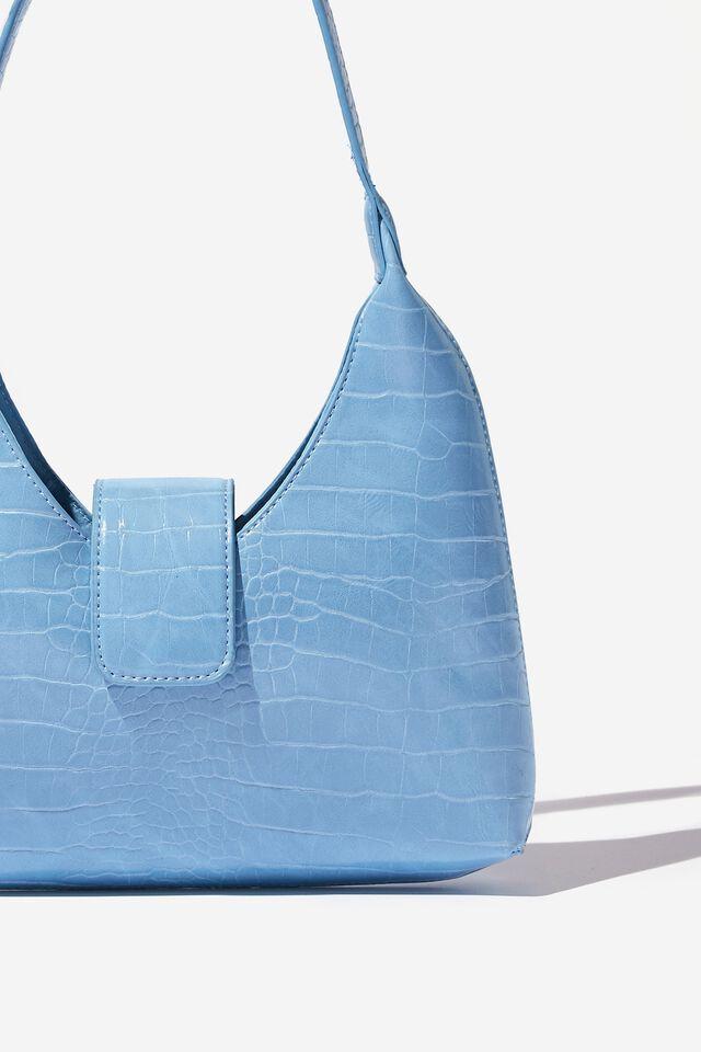 Enya Moon Shoulder Bag, ISLAND BLUE CROC MATTE