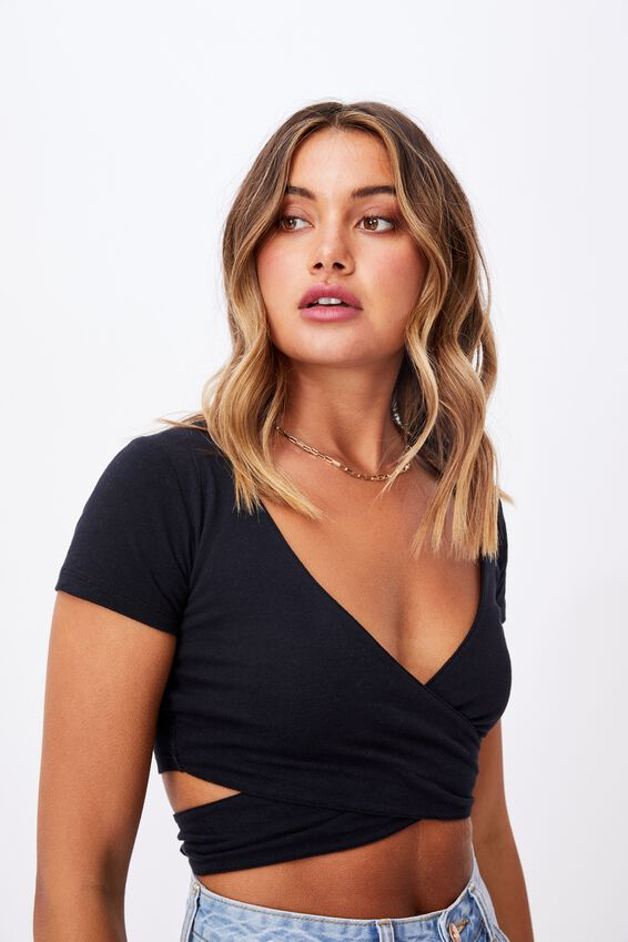 Julia Wrap Cut Out Top, BLACK