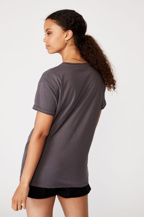 Lola Printed Longline T Shirt, GRANITE GREY/WEST COAST MOTO