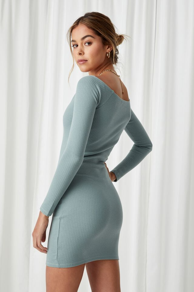 Pia Buttoned Mini Dress, WILLOW GREEN