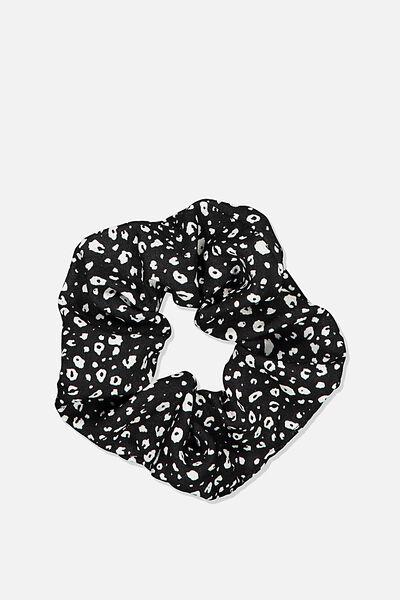 Small Leopard Spot Scrunchie, BLACK