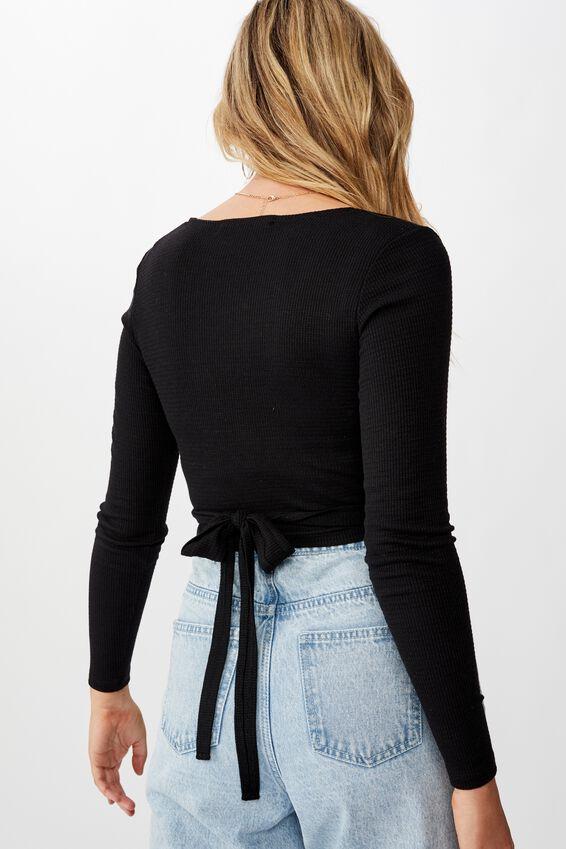 Nala Long Sleeve Wrap Top, BLACK