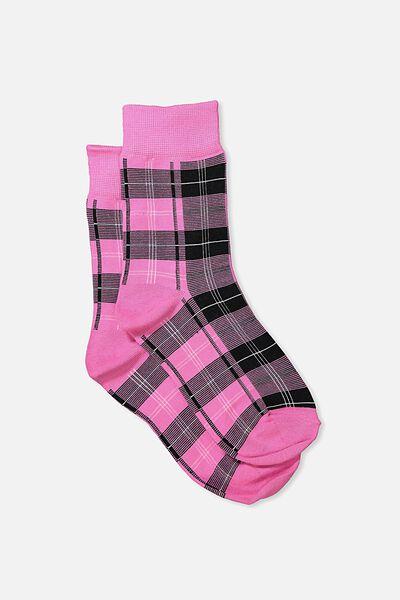 90S Check Socks, PINK HERITAGE