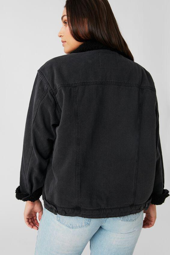 Trucker Faux Sherpa Denim Jacket, MIDNIGHT BLACK