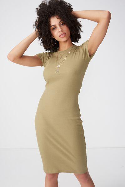 Rib Midi T-Shirt Dress, JUNGLE KHAKI