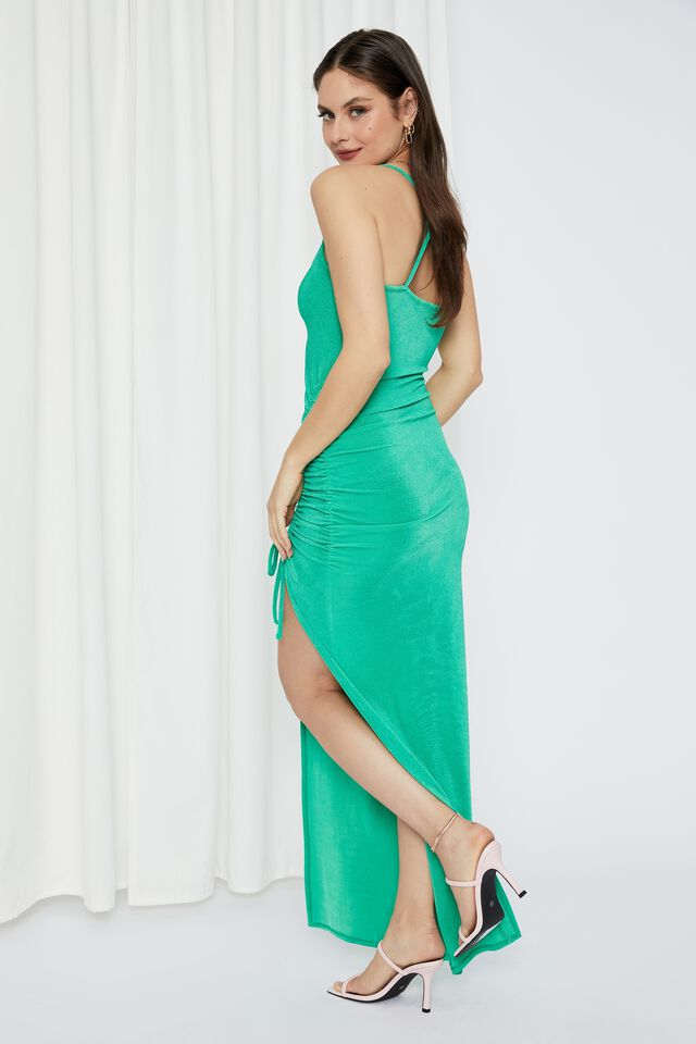 Ruched Chain Long Formal Dress, JEWEL GREEN