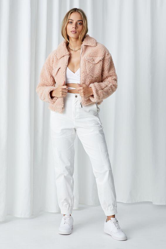 Billie Teddy Zip Through Jacket, DUSK PINK