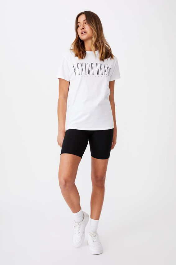 Lola Printed Longline T Shirt, WHITE/VENICE BEACH