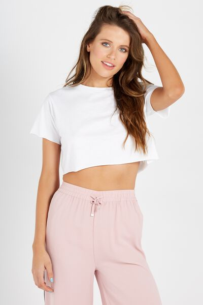 Super Crop Tee, WHITE
