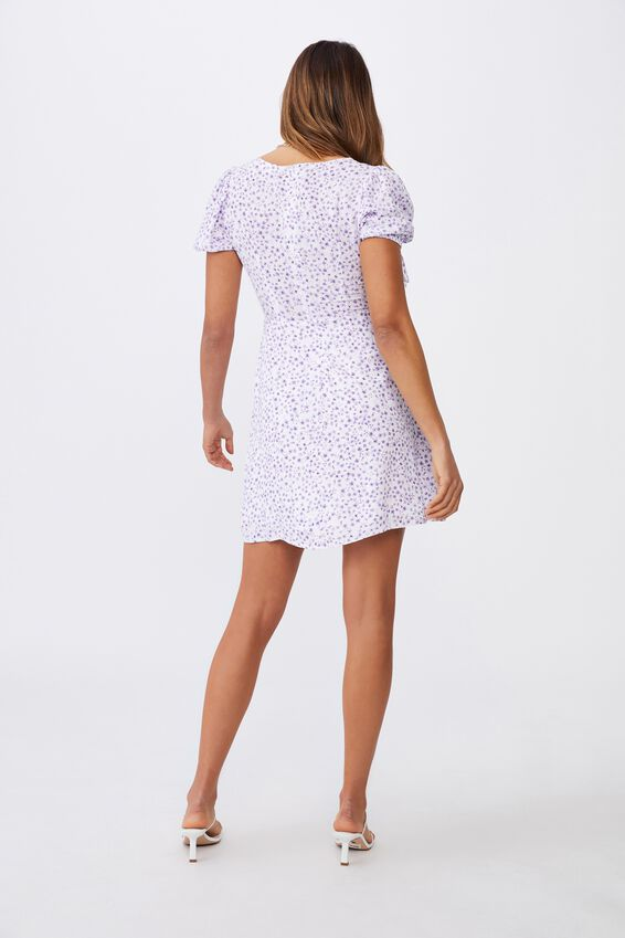 Iris Gathered Sleeve Tea Dress, STELLA FLORAL WHITE LILAC