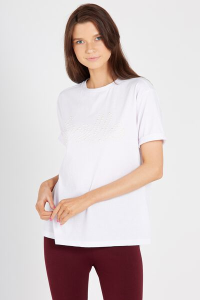 Royal Embellished Tee, WHITE/BELLE