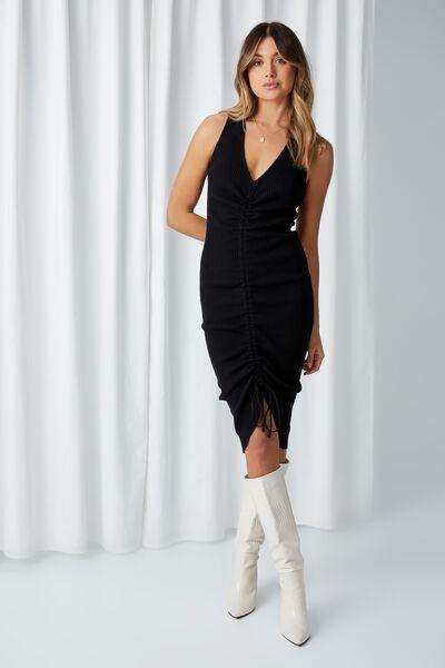 Jean Ruched Midi Dress, BLACK