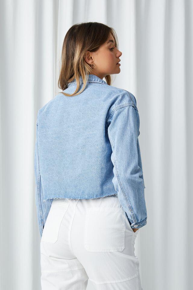 Oversized Crop Denim Jacket, OCEAN BLUE FADED