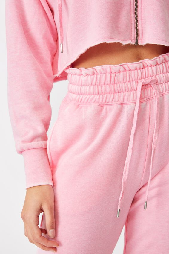 Paper Bag Waist Trackpant, WASHED TAFFY PINK