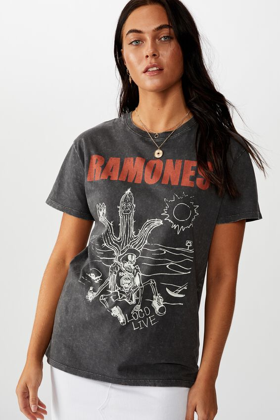 The Kendall Graphic Tee, WASHED GRANITE GREY/LCN MT RAMONES DESERT SKELETON