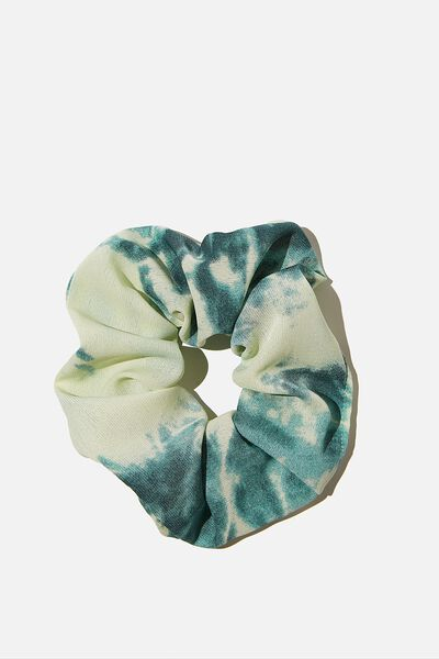 Mono Tie Dye Scrunchie, GREEN WHITE